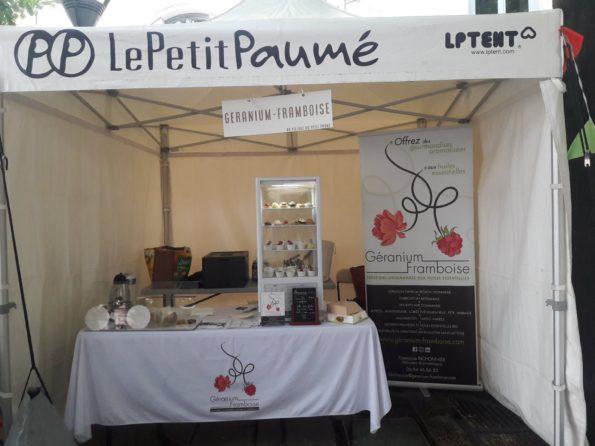 Petit Paumé Lyon stand Géranium Framboise,Pâtisseries Huiles Essentielles