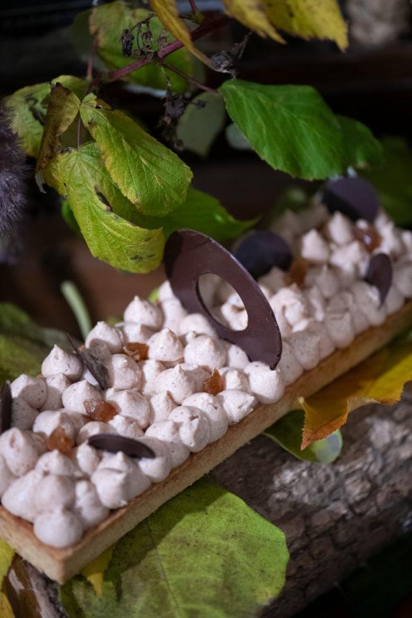 Tarte bio chocolat châtaigne, Pâtisseries Huiles Essentielles, Géranium Framboise