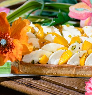 Tarte bio Mangue Mandarine, Pâtisseries Huiles Essentielles, Géranium Framboise
